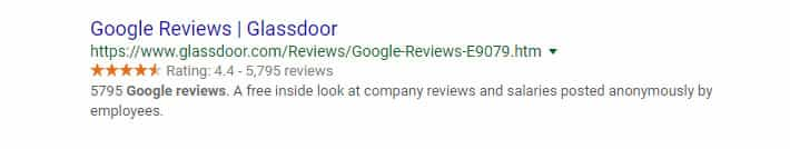 A snippet of a Google review from the search engine result page for glassdoor.com